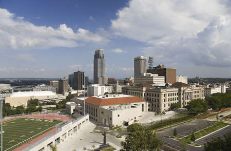 nebraska: Aerial view of Omaha Nebraska skyline with view of Creighton University Morrison Football Stadium