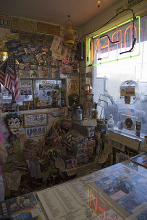 barstow: Interior view of front office of Route 66 Motel, on Main Street, Barstow, California