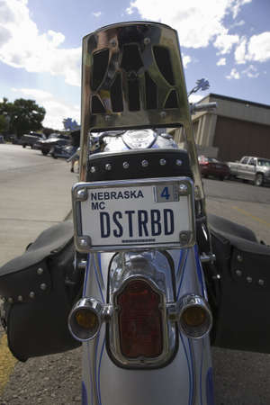 cultural artifacts: Nebraska custom license plate reading Disturbed on back of motorcycle at the 67th Annual Sturgis Motorcycle Rally, Sturgis, South Dakota, August 6-12, 2007