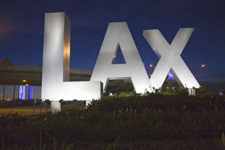 Night shot of Los Angeles International Airport sign, LAX, in Los Angeles, California