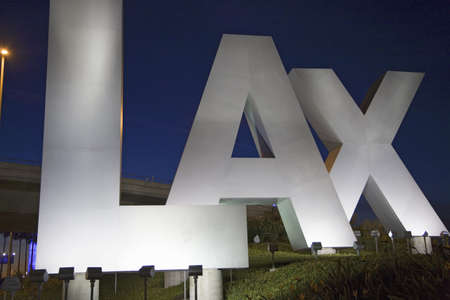 lax: Night shot of Los Angeles International Airport sign, LAX, in Los Angeles, California