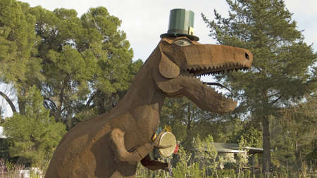 animal st  patricks day: Dinosaur is all dressed up for Saint Patricks Day, Oak View, California Editorial