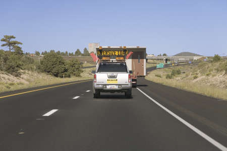 Oversized vehicle driving down Interstate 40 near Flagstaff Arizona