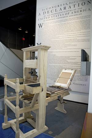 broadside: Replica of printing press used by John Dunlap to make broadside copies of the Declaration of Independence in 1776, on display at the Newseum, Washington D.C.