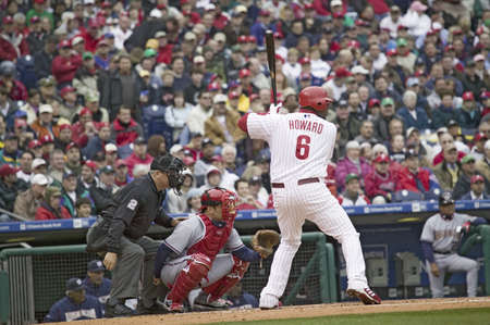 Major League baseball player for the Philadelphia Phillies, #6, slugger Ryan Howard, a lefthanded batter, waiting for pitch on March 31, 2008 opening game against Washington Nationals, at Citizens Bank Park where 44,553 watch the Nationals defeat the Phil