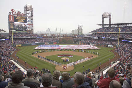 brotherly love: Opening Day Ceremonies featuring gigantic American Flag in Centerfield on March 31, 2008, Citizen Bank Park where 44,553 attend as the Washington Nationals defeat the Philadelphia Phillies 11 to 6. Editorial