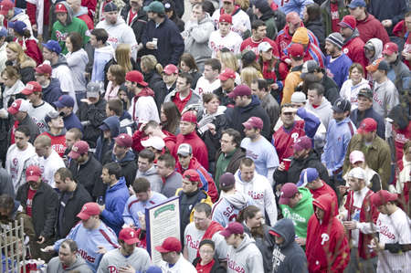 brotherly love: Baseball fans passing through ticket gates of Opening Game on March 31, 2008, at Citizen Bank Park where 44,553 attend as the Washington Nationals defeat the Philadelphia Phillies 11 to 6.