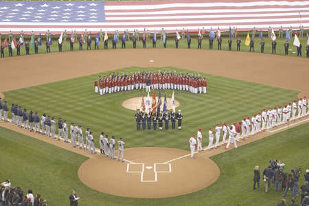 Opening Day Ceremonies featuring military color guard, boys choir and gigantic American Flag on March 31, 2008, Citizen Bank Park where 44,553 attend as the Washington Nationals defeat the Philadelphia Phillies 11 to 6.