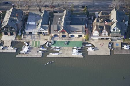 fraternity: Aerial view of famous fraternity Boat House Row on Schuylkill River in Philadelphia, Pennsylvania Editorial