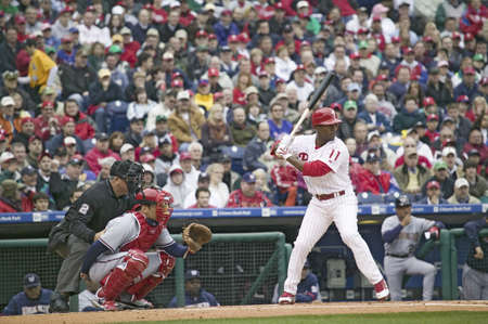 brotherly love: Major League baseball player for the Philadelphia Phillies, #11,Jimmy Rollins waiting for pitch during March 31, 2008 opening game against Washington Nationals, at Citizens Bank Park where 44,553 watch the Nationals defeat the Phillies 11 to 6.