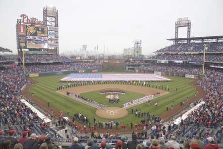 Opening Day Ceremonies featuring gigantic American Flag in Centerfield on March 31, 2008, Citizen Bank Park where 44,553 attend as the Washington Nationals defeat the Philadelphia Phillies 11 to 6.