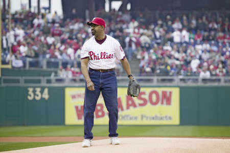 brotherly love: Mayor Michael Nutter throwing opening pitch of baseball game on March 31, 2008, Citizen Bank Park where 44,553 attend as the Washington Nationals defeat the Philadelphia Phillies 11 to 6. Editorial