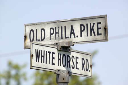 Old street sign in Lancaster County Old Phila Pike and White Horse Road, Pennsylvania Stock Photo - 20490439