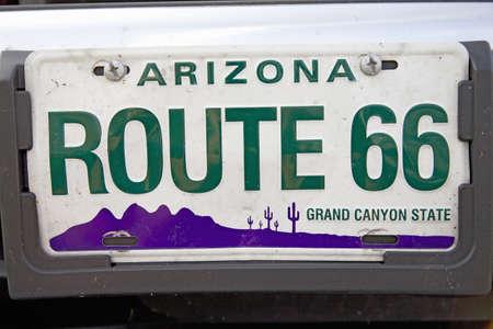 Route 66 Arizona classic Americana license plate