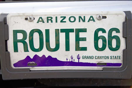 license plate: Route 66 Arizona classic Americana license plate Editorial