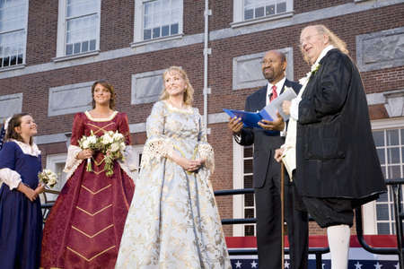 ben franklin: Philadelphia Mayor Michael Nutter marrying Ben Franklin and Betsy Ross on July 3, 2008 in front of Independence Hall, Philadelphia, Pennsylvania Editorial