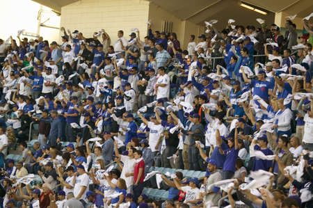 Dodger fans cheering during National League Championship Series (NLCS), Dodger Stadium, Los Angeles, CA on October 12, 2008 Editorial