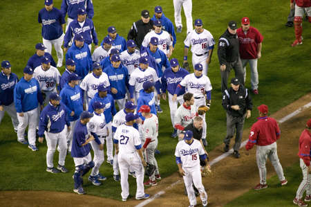 dodgers: Philadelphia Phillies and LA Dodgers emptying the dugouts onto the playing field and a fight at the National League Championship Series (NLCS), Dodger Stadium, Los Angeles, CA on October 12, 2014 Editorial