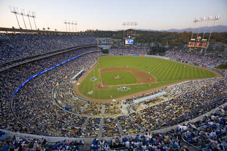 Grandstands overlooking home plate at National League Championship Series (NLCS), Dodger Stadium, Los Angeles, CA on October 12, 2008 Stock Photo - 20512446
