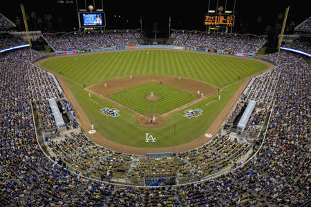 Grandstands overlooking home plate at National League Championship Series (NLCS), Dodger Stadium, Los Angeles, CA on October 12, 2008 Stock Photo - 20512468