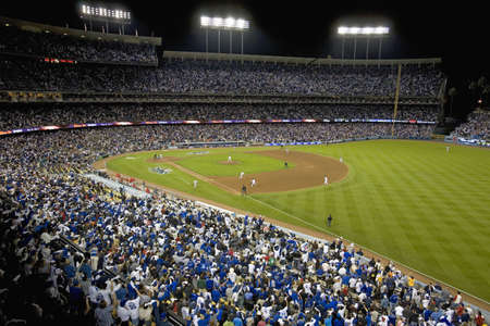 grandstand: Grandstands overlooking home plate at National League Championship Series (NLCS), Dodger Stadium, Los Angeles, CA on October 12, 2008