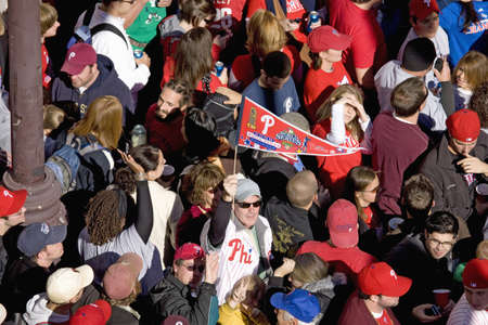 Philadelphia Phillies fans celebrating Phillies World Series victory October 31, 2008 with parade down Broad Street Philadelphia, PA Stock Photo - 20512281