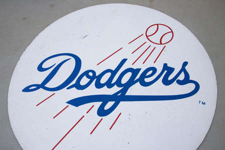 Dodger baseball logo, Dodger Stadium, Los Angeles, CA on October 12, 2008 新聞圖片