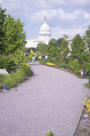 u s: Walk through U.S. Botanic Gardens with U.S. Capitol in background, Washington, D.C. Editorial
