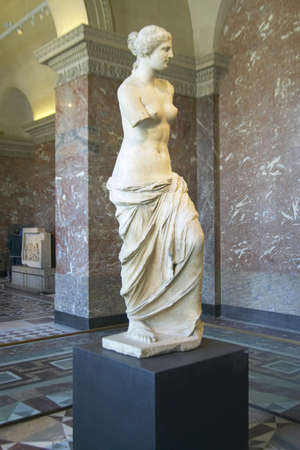 Statue of Venus de Milo (Aphrodite), Greece, ca. 150-125 BC at the Louvre Museum, Paris, France