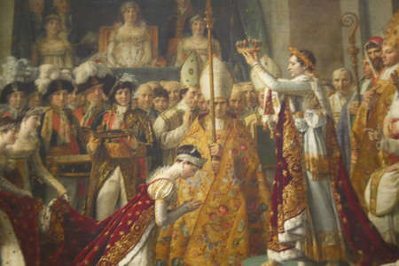 The Coronation of Napoleon by Jacques Louis David, 1808 at the Louvre Museum, Paris, France, Oil on Canvas