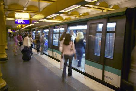 subterranean: Metro Train at the Gare de Lyon in Paris, France