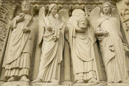 Sculpture outside the Notre Dame Cathedral, Paris, France