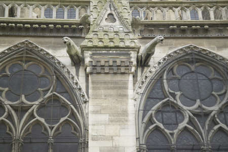 Gargoyles on the exterior of the Notre Dame Cathedral, Paris, France