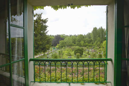 balcony: View into garden from Monets Home, Giverny, France