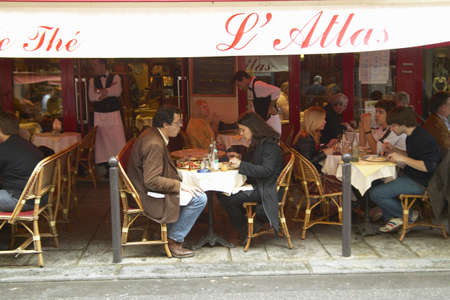 caf: Outdoor Seating under awning at cafŽ, Paris, France Editorial