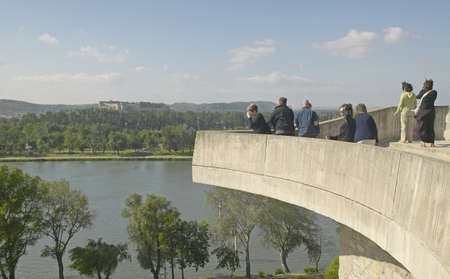 rhone: Tourists looking out onto Rhone River, Avignon, France Editorial