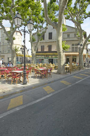 awnings: The town of Arles, France Editorial