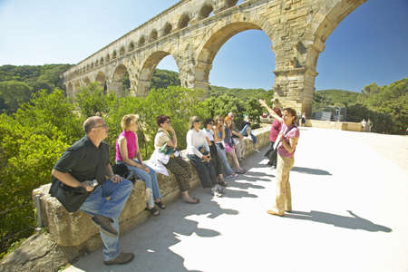Tourists at the Pont du Gard, Nimes, France