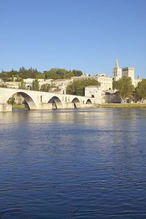 Le Pont St. Benezet and Palace of the Popes and Rhone River, Avignon, France