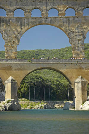 Close up of River Gard and the Pont du Gard, Nimes, France