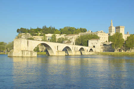avignon: Le Pont St. Benezet and Palace of the Popes and Rhone River, Avignon, France