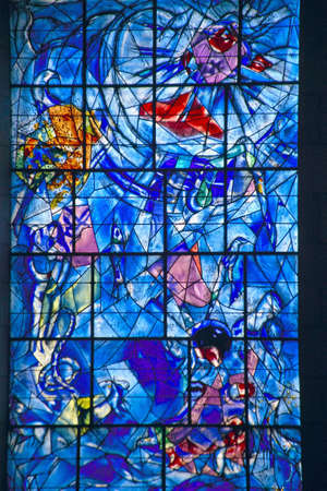 marc: Stained glass window with design by Marc Chagall, Marc Chagall Museum, Nice, France Editorial