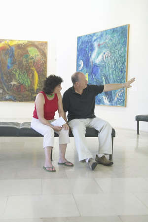 marc: Tourists look at paintings by Marc Chagall, Marc Chagall Museum, Nice, France