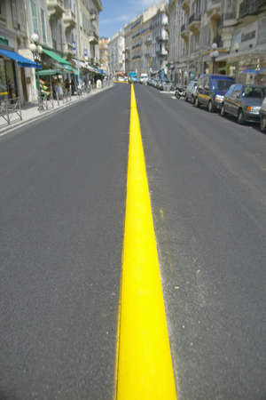 yellow line: Yellow Line down center of road, Nice, France