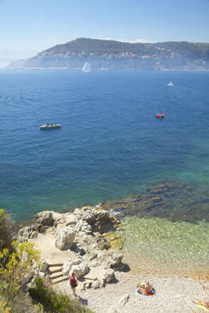 villefranche sur mer: Looking down on the Mediteranean near Villefranche sur Mer, French Riviera, France