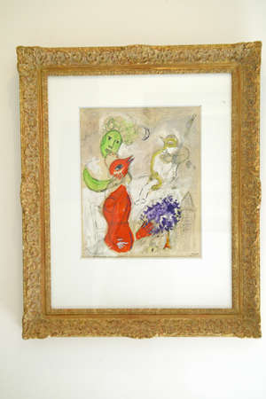 vence: Painting by Marc Chagall in gallery in Saint Paul de Vence, France