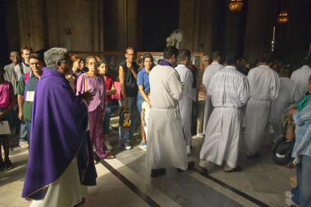 Catholic Sunday Sermon lead by Church officials at the Catedral de la Habana, Plaza del Catedral, Old Havana, Cuba