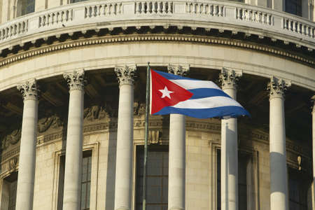 capitolio: The Capitolio and Cuban Flag, the Cuban capitol building and dome in Havana, Cuba