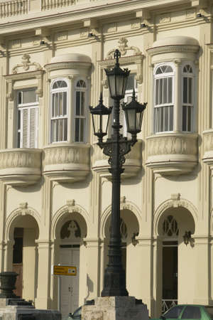 restored: Lamppost in foreground with old historic restored buildings of Old Havana, Cuba Stock Photo