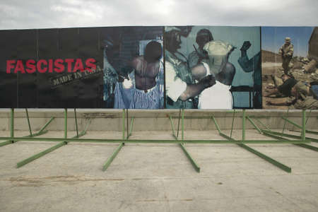 indies: Political billboards showing Iraq Abu Ghraib Prison abuse pictures at American Embassy in Havana, Cuba Editorial